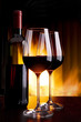 wine by the glass against the fireplace with fire