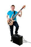 guitarist with electro guitar poster