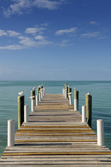 Wooden sunlit jetty leading into a turquoise blue sea in Governo