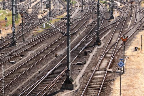 Eisenbahnschienen und Weichen