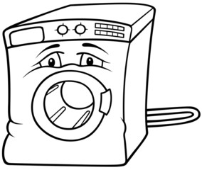 Washing Machine - Black and White Cartoon illustration