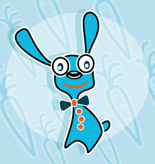 Blue rabbit with bow tie
