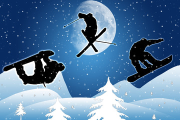 Saut à ski silhouette