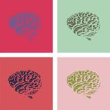human brain in pop-art style illustration poster
