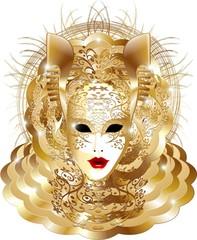 Maschera Carnevale Venezia-Venetian Carnival Mask-Vector