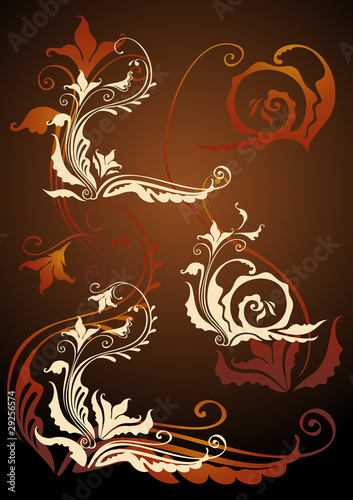 SET OF DECORATIVE FLORAL ELEMENTS FOR DESIGN ON DARK