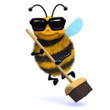 3d Bee wymiata czyste nową miotłą