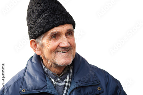 Happy senior man isolated on white