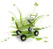Green leaves shopping kart flowers leaves caddy