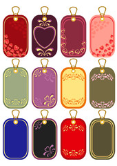 Cardboard sales tags bright, striped  with hearts