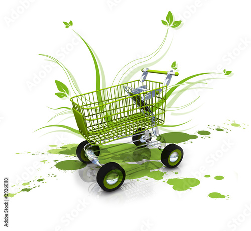 Green leaves shopping kart flowers leaves caddy