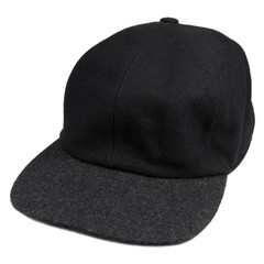Fine wool black baseball style cap, grey brim isolated men hat