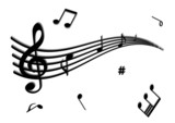 Illustration of a stave and some music notes