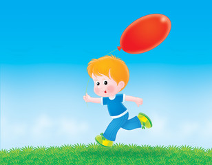 Boy running with a red balloon