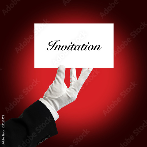Waiter holding invitation card