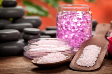 Spa treatment - pink minerals and black stones