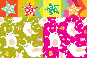 easter background bunny seamless pattern