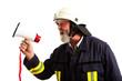 Feuerwehrmann mit Megafon