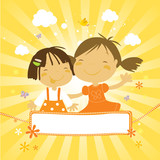 kids friendship- two happy girls poster