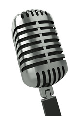 Classic microphone against a white background