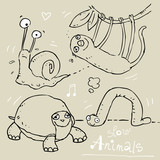 funny animals doodle, sketchy drawings poster