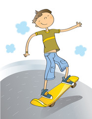 boy skateboarding, cartoon vector