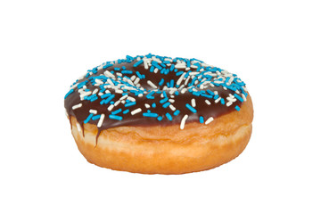 Donut with Sprinkles on White Background