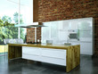 3D Rendering Küche weiß mit Holz