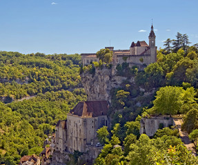 Rocamadour clinging to a cliff side.