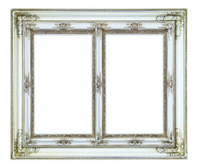 white wood picture frame isolated on white background