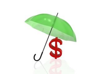 Dollar under umbrella