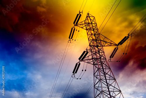 Leinwanddruck Bild torre de transmision electrica  .Concepto energetico.