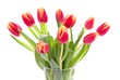 pink-yellow tulips in a vase