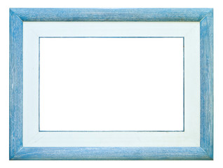 wood photo image frame isolated on white background