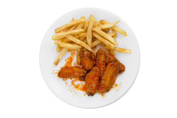 Plate of Hot Wings and Fries on White Background