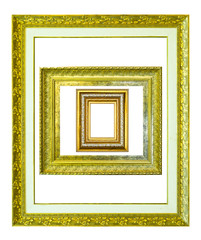 golden wood picture image frame isolated on white background