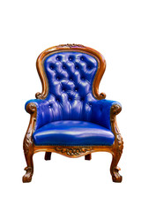 luxury blue leather armchair isolated