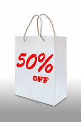 fifty precent off on white paper bag