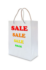 sale sign on white paper bag