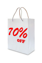 seventy precent off on white paper bag