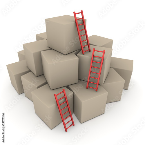 Batch of Boxes - Climb up with Glossy Red Ladders