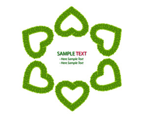 green grass love heart frame isolated