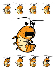 Shrimp Character with Various Emotions
