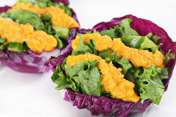 Red cabbage cups with miso dressing