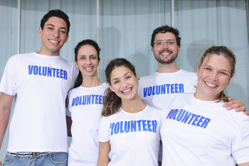 happy and cheerful volunteer group