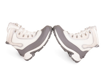 female gray hiking shoes on a white background