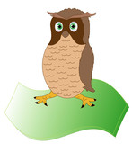 The owl, the bird of wisdom on parchment,vector poster