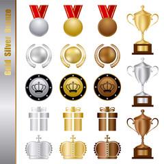 Gold Silver bronze Awards Set