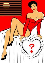 femme sexy lit qui tient un coussin coeur point interrogation