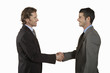 Businessmen shaking hands, on white background
